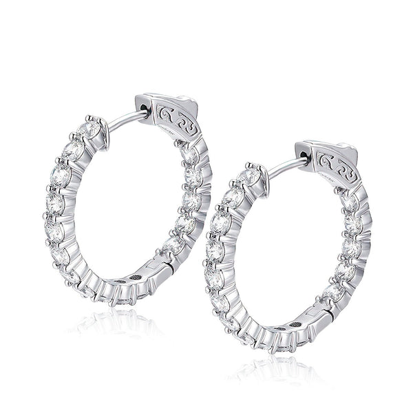 "Sterling Silver Round Hoop Earrings Inside-Out Pave CZ (3 mm), 1"" Diameter Fashion-Cat_30E296220944"