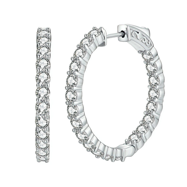 Sterling Silver Round Hoop Earrings Inside-Out Pave CZ (3 mm), 1.18