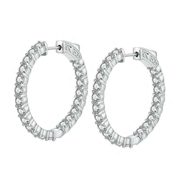"Sterling Silver Round Hoop Earrings Inside-Out Pave CZ (3 mm), 1.18"" Diameter"