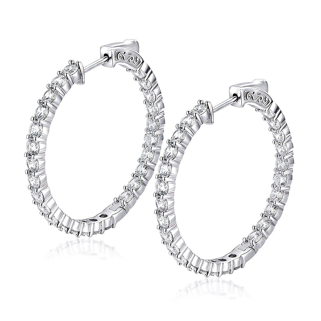"Sterling Silver Round Hoop Earrings Inside-Out Pave CZ (3 mm), 1.38"" Diameter Earrings_Fashion-Cat_30E296241281"