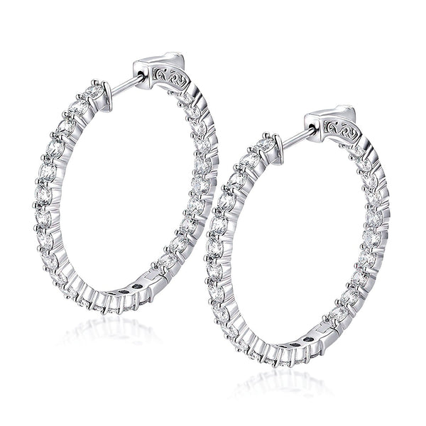 "Sterling Silver Round Hoop Earrings Inside-Out Pave CZ (3 mm), 1.38"" Diameter Fashion-Cat_30E296241281.2"