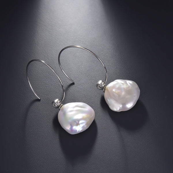Freshwater Pearl Open Hoop Dangle Earrings in Rhodium Overlay 925 Sterling Silver Fashion-Cat_SE29EA18720780S.1