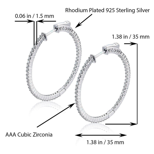 Sterling Silver Round Hoop Earrings Inside-Out Pave CZ (1.5mm), 1.38