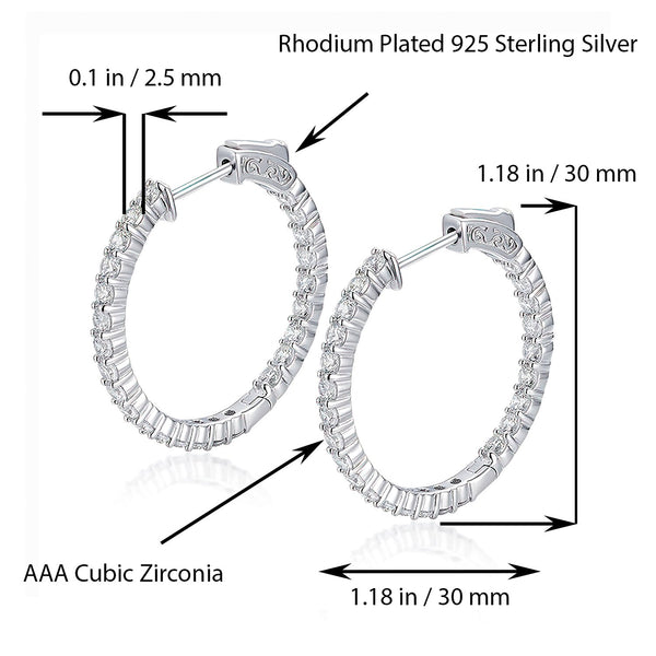 Sterling Silver Round Hoop Earrings Inside-Out Pave CZ (2.5mm), 1.18