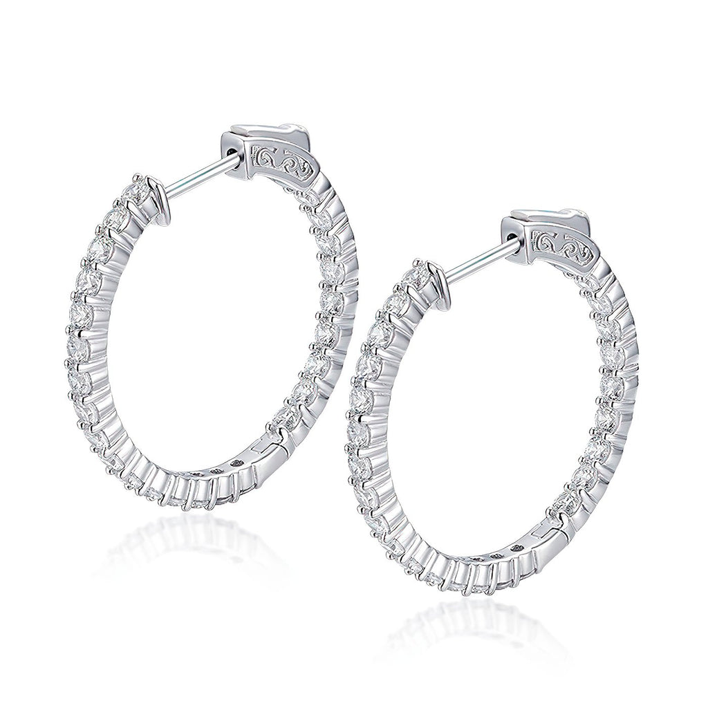 "Sterling Silver Round Hoop Earrings Inside-Out Pave CZ (2.5mm), 1.18"" Diameter Fashion_-Cat_30E296191131.1"