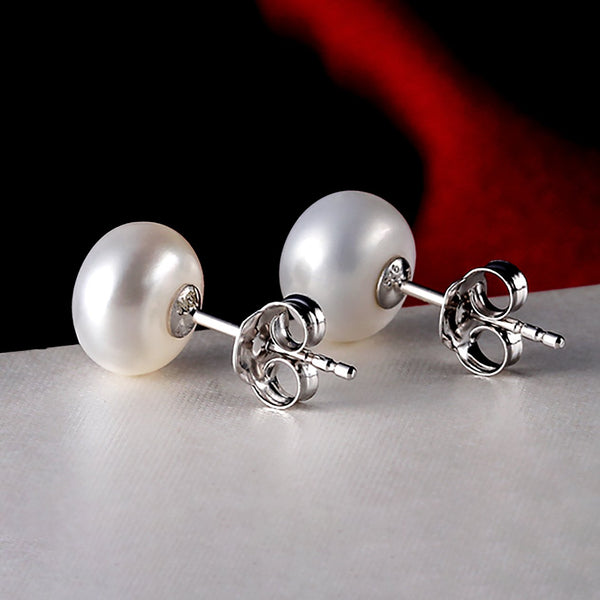 Freshwater Cultured Pearl Button Shape Stud Earrings in 925 Sterling Silver Fashion Cat-Earrings 26EMC233001 .2