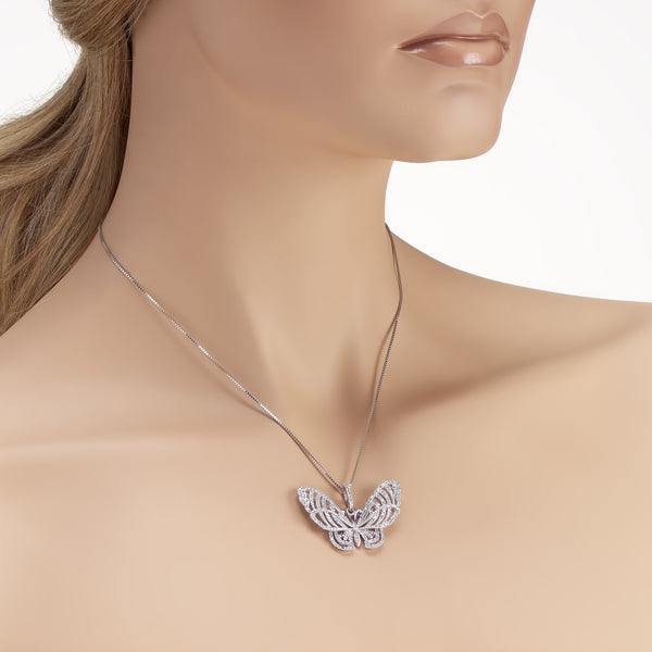 Beautiful Butterfly Necklace in 925 Sterling Silver Made with Shining Cubic Zirconia Fashion-Cat Necklace 28A36671044.1