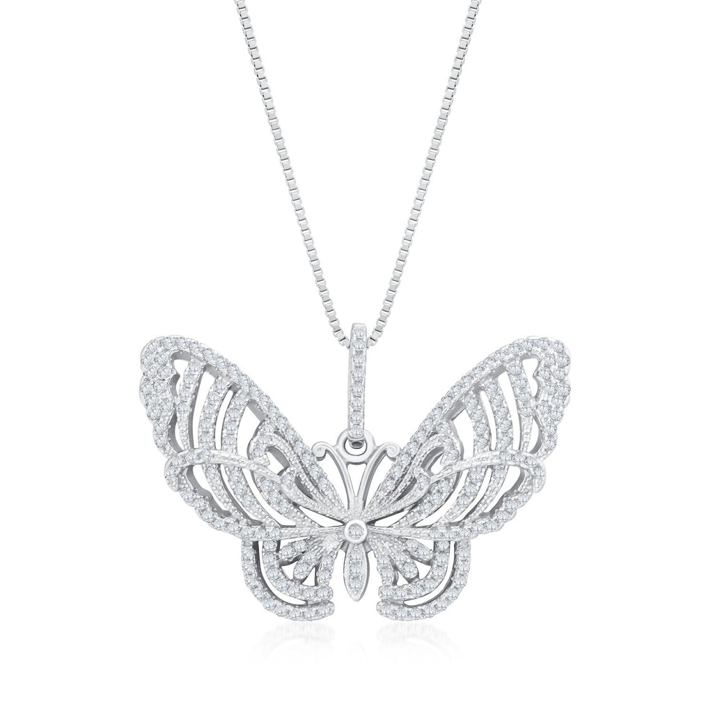 Beautiful Butterfly Necklace in 925 Sterling Silver Made with Shining Cubic Zirconia Fashion-Cat Necklace 28A36671044