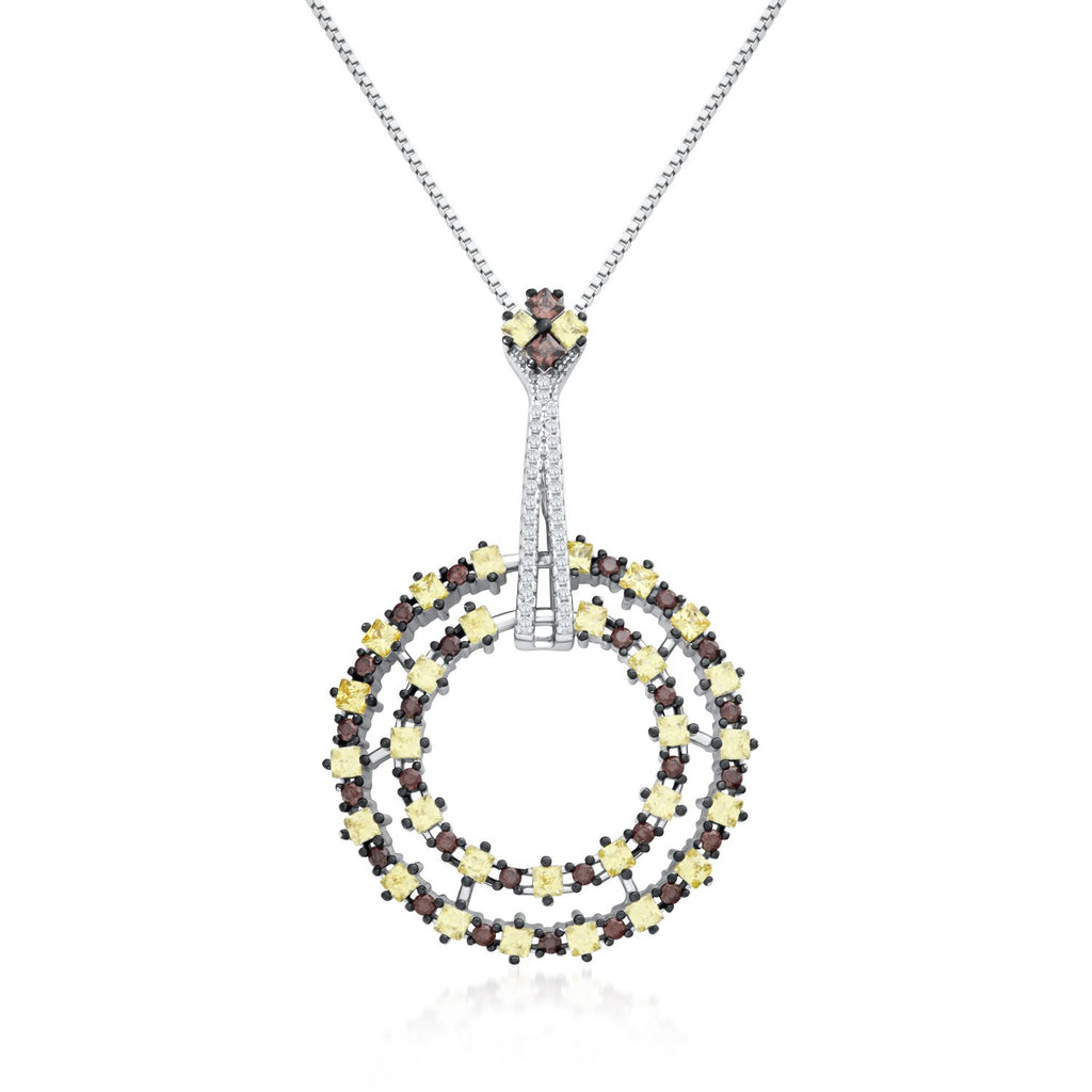 Two Circles Pendant Necklace in 925 Sterling Silver Made with Shining Cubic Zirconia Fashion-Cat 28B110231004