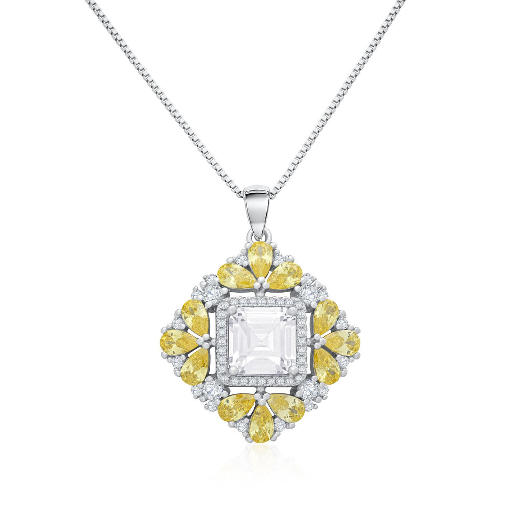 Square Pendant Necklace in 925 Sterling Silver with Shining CZ
