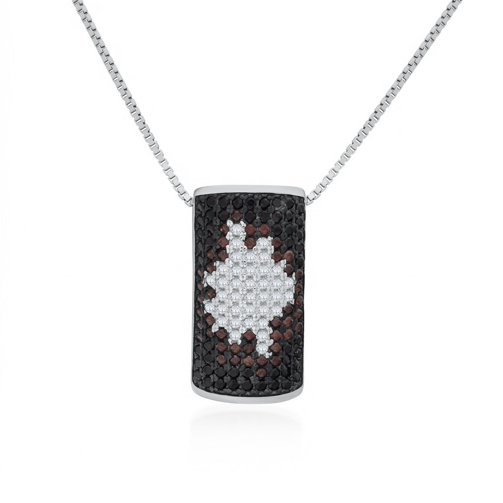 Black Rectangular Pendant Necklace in 925 Sterling Silver Made with Shining CZ Fashion-Cat 28B94780750