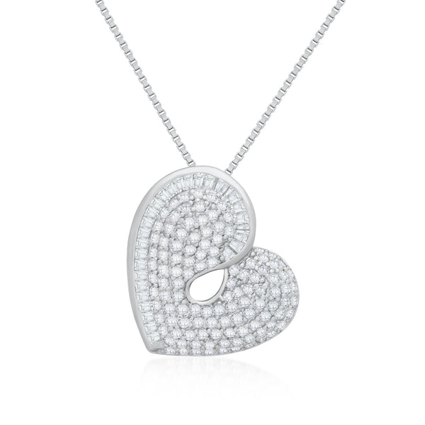 Heart Pendant Necklace in 925 Sterling Silver Made with Shining Cubic Zirconia Fashion-Cat 28PA15450813