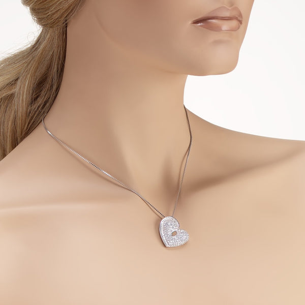 Heart Pendant Necklace in 925 Sterling Silver Made with Shining Cubic Zirconia Fashion-Cat 28PA15450813.3