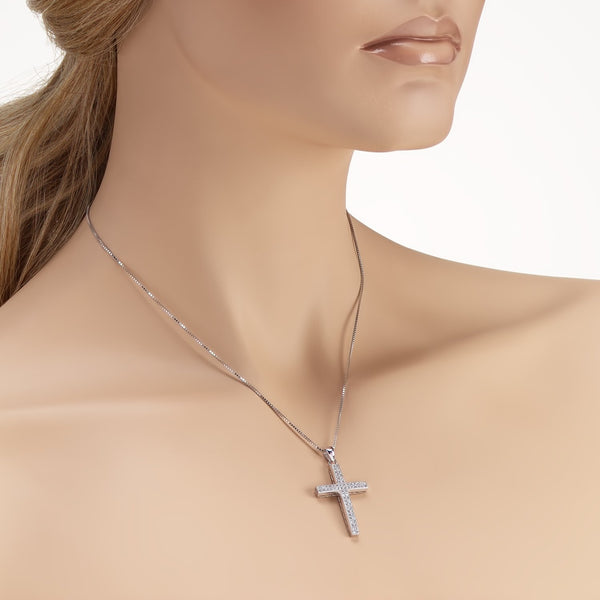 Cross Pendant Necklace in 925 Sterling Silver Decorated Shining Cubic Zirconia Fashion-Cat 28PA34450657.2