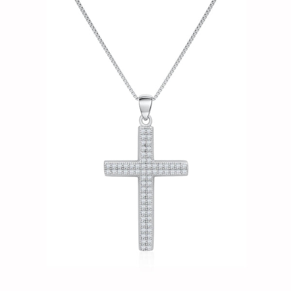 Cross Pendant Necklace in 925 Sterling Silver Decorated Shining Cubic Zirconia Fashion-Cat 28PA34450657