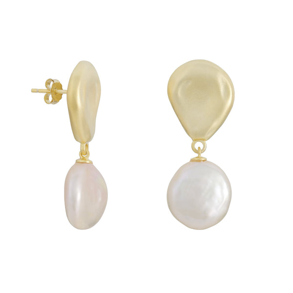 Freshwater Pearl Dangle Earrings in 14K Gold Overlay 925 Sterling Silver Fashion-Cat SE29EA17110910.G.1