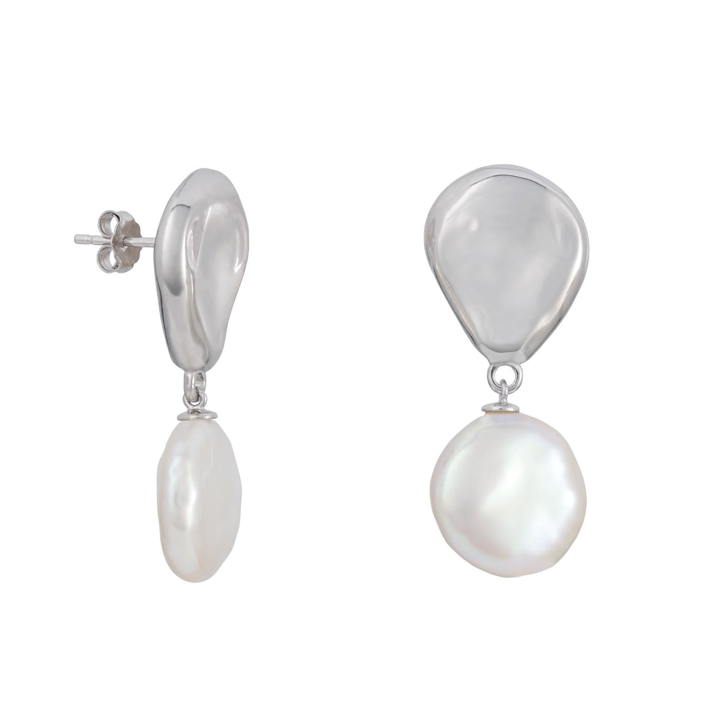 Freshwater Pearl Dangle Earrings in Rhodium Overlay 925 Sterling Silver Fashion-Cat 29EA17110910.S.1