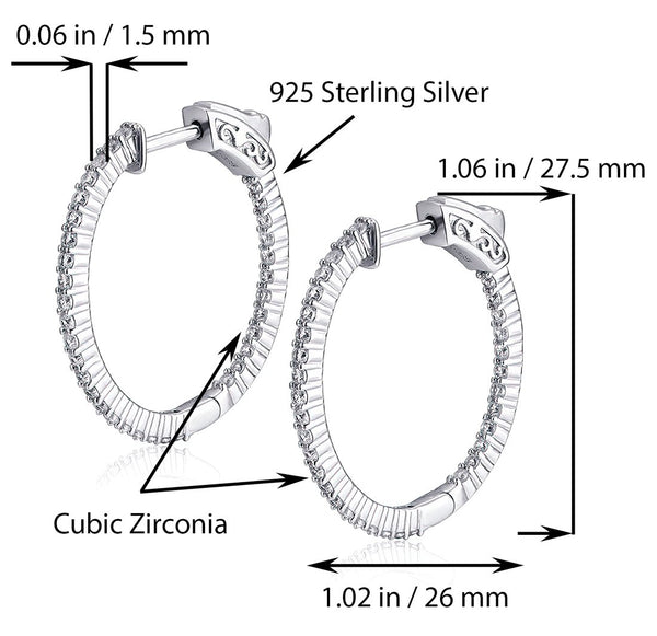 Sterling Silver Oval Hoop Earrings Inside-Out Pave CZ (1.06