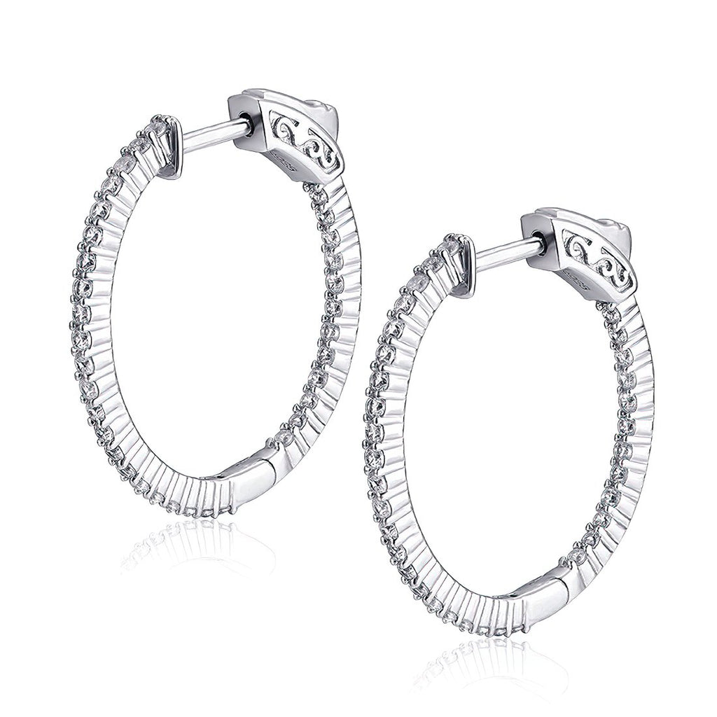 "Sterling Silver Oval Hoop Earrings Inside-Out Pave CZ (1.5 mm), 1.06"" x 1.02"" Fashion-Cat-30E296020889.1"