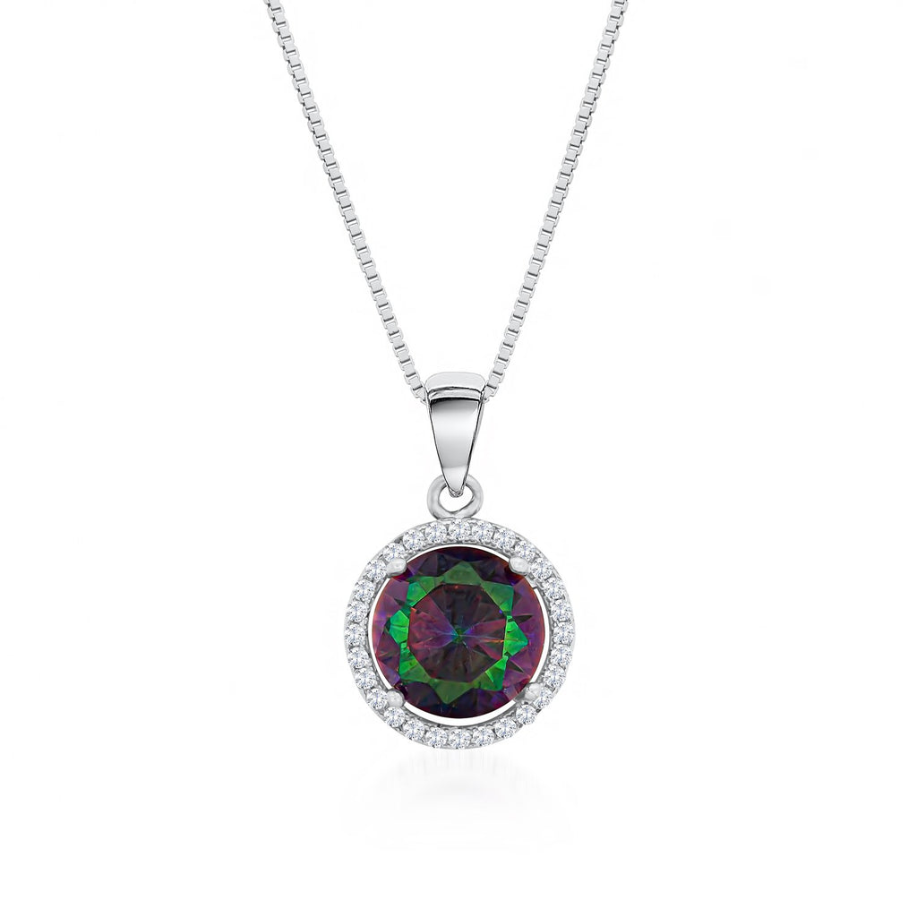 925 Sterling Silver Necklace Decorated Mystic Rainbow Cubic Zirconia Fashion-Cat 28A31410449