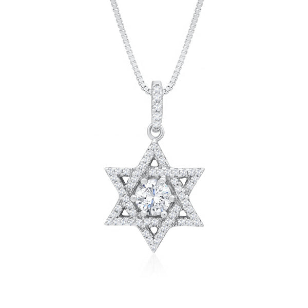 Star of David Necklace in 925 Sterling Silver Decorated Shining Cubic Zirconia Fashion-Cat SN28A33430563