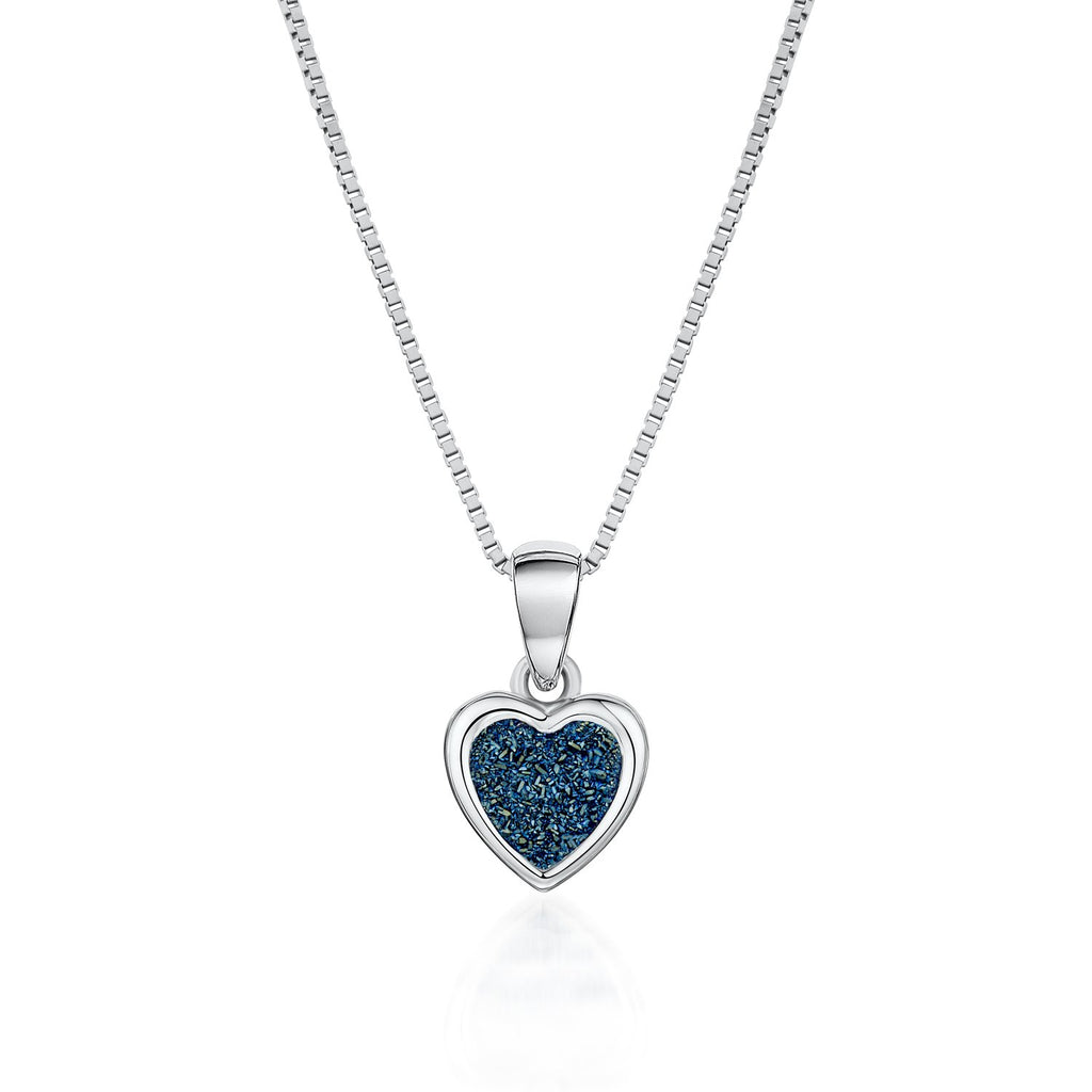 Love Heart Necklace in 925 Sterling Silver Made with Blue Druzy