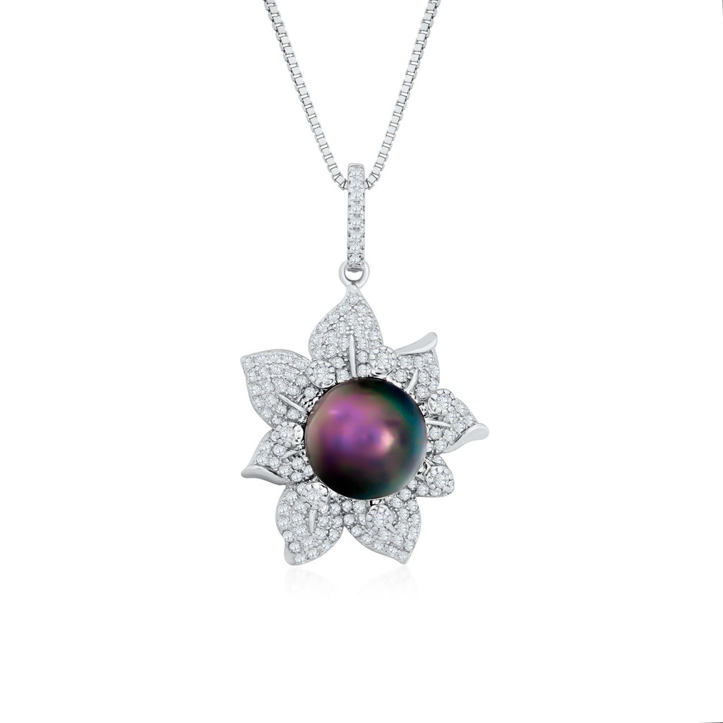 Black Pearl Flower Necklace in 925 Sterling Silver with CZ