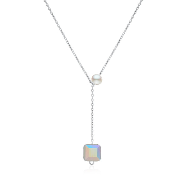 25 Sterling Silver and Aurora Crystal Cube Lariat Necklace Decorated Created Pearl Fashion-Cat 28F10890306
