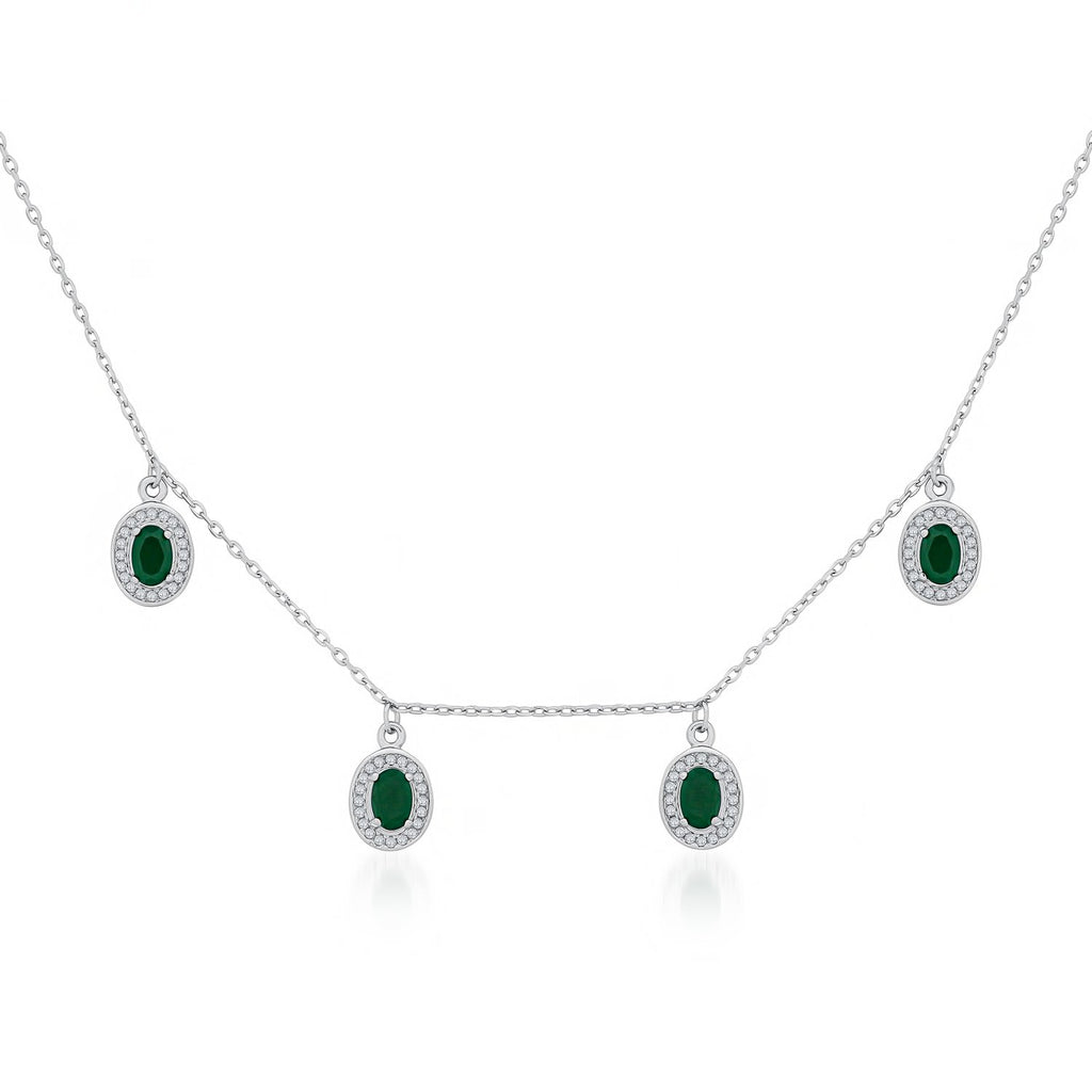 Green Oval Pendants Necklace in 925 Sterling Silver with CZ