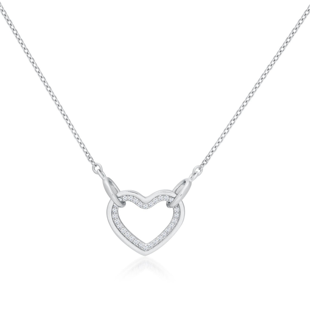 925 Sterling Silver Heart Shaped Necklace Decorated Shining Cubic Zirconia Fashion-Cat 28F12790364