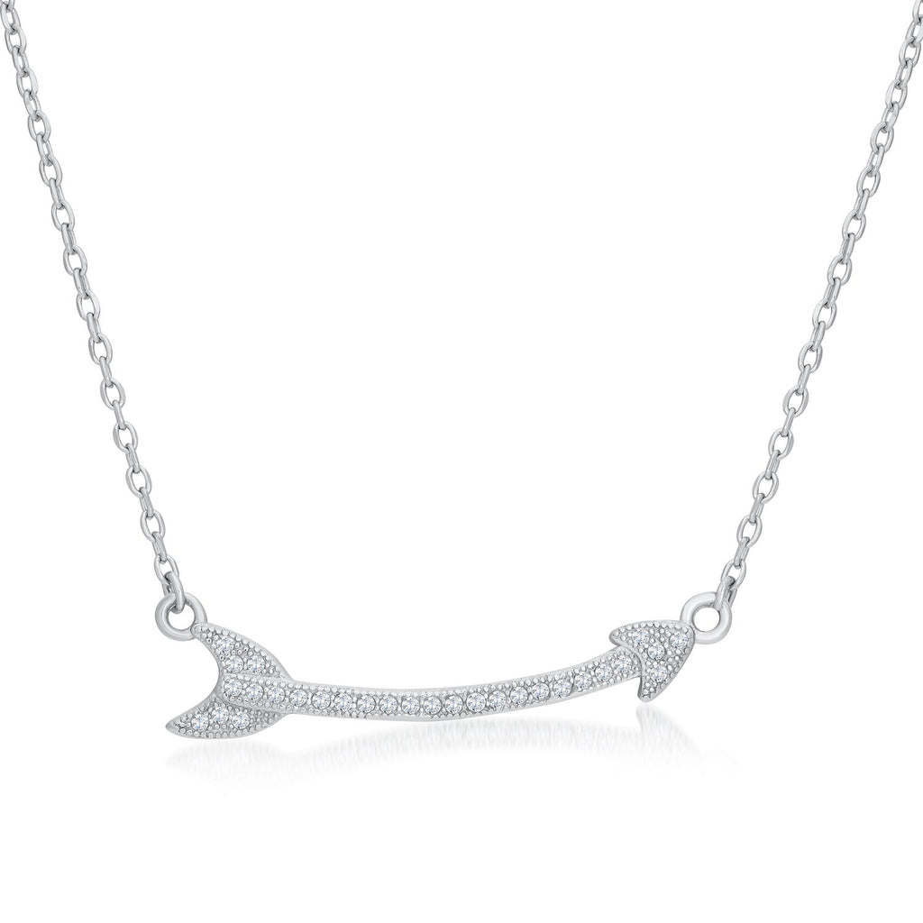 Love Sideways Arrow Necklace in Sterling Silver Decorated Cubic Zirconia Fashion-Cat 28F3900382