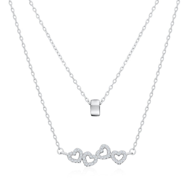 Hearts and Ring Double Layered Necklace in Sterling Silver Decorated Cubic Zirconia Fashion-Cat 28F5530495