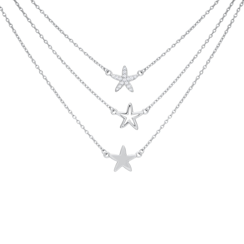 Triple Layered Stars Necklace in 925 Sterling Silver with CZ