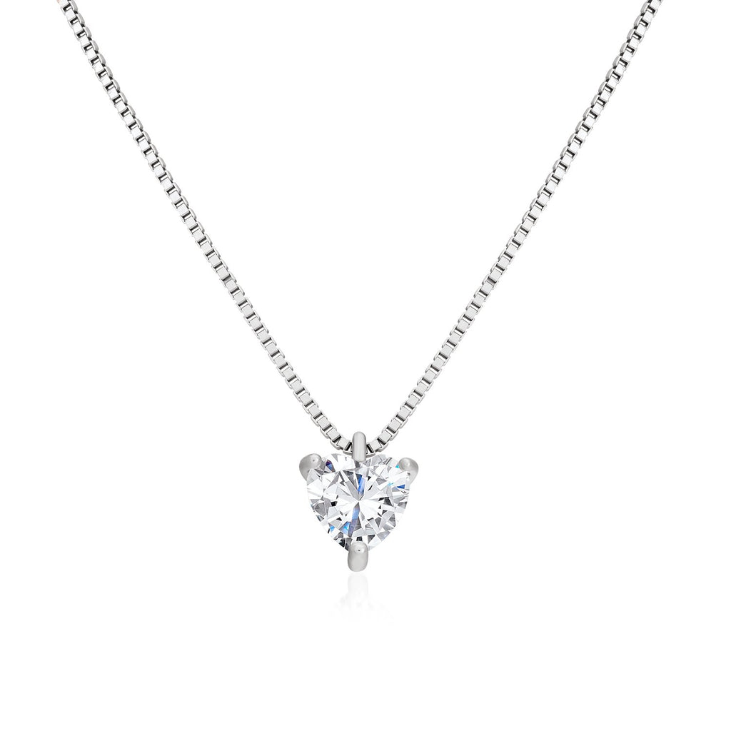 925 Sterling Silver Heart Shaped Necklace Made with Shining Cubic Zirconia Fashion-Cat Necklace SN28F9030272