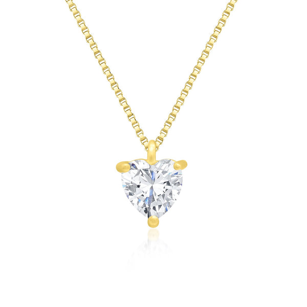 18K Gold Over 925 Sterling Silver Heart Shaped Necklace with Shining Cubic Zirconia Fashion-Cat SN28F903G0269