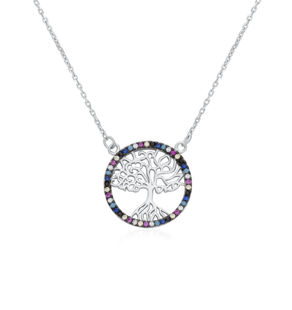 925 Sterling Silver Tree of Life Necklace Decorated Multi Color Cubic Zirconia Fashion-CatNecklace28F9910436