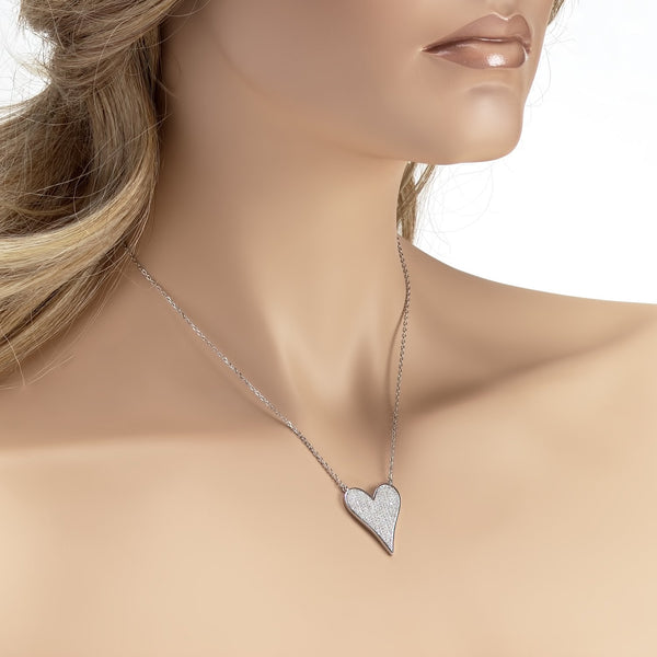 925 Sterling Silver Heart Shaped Necklace Made with Shining Cubic Zirconia Fashion-Cat 28F9990793.2
