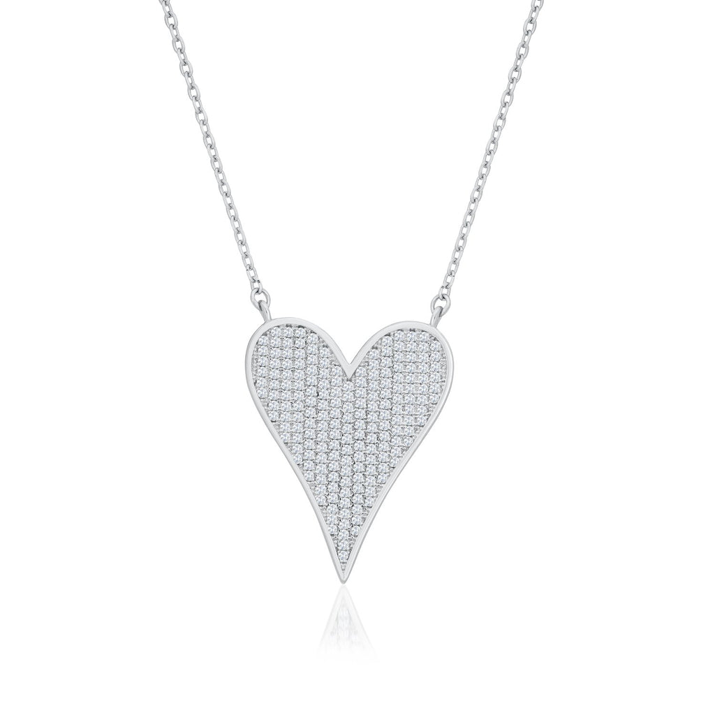 925 Sterling Silver Heart Shaped Necklace Made with Shining Cubic Zirconia Fashion-Cat 28F9990793