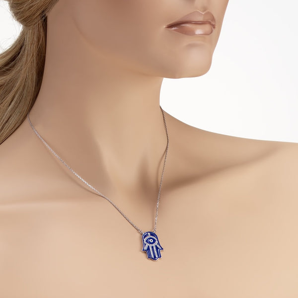 925 Sterling Silver Blue Enamel Hamsa Necklace Decorated Shining Cubic Zirconia Fashion-Cat SN28NF6520472.5