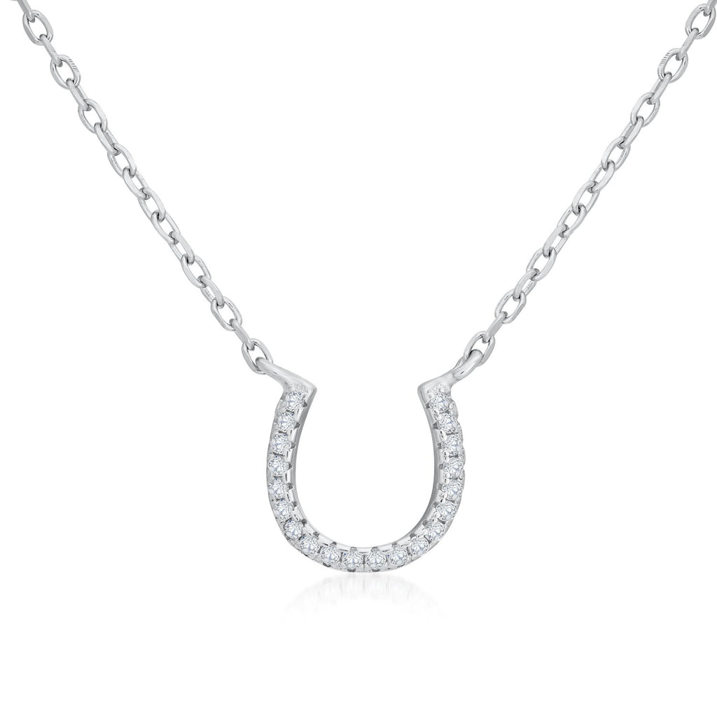 Sterling Silver Horseshoe Necklace Decorated Shining CZ