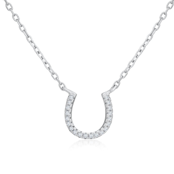925 Sterling Silver Horseshoe Necklace Decorated Shining Cubic Zirconia