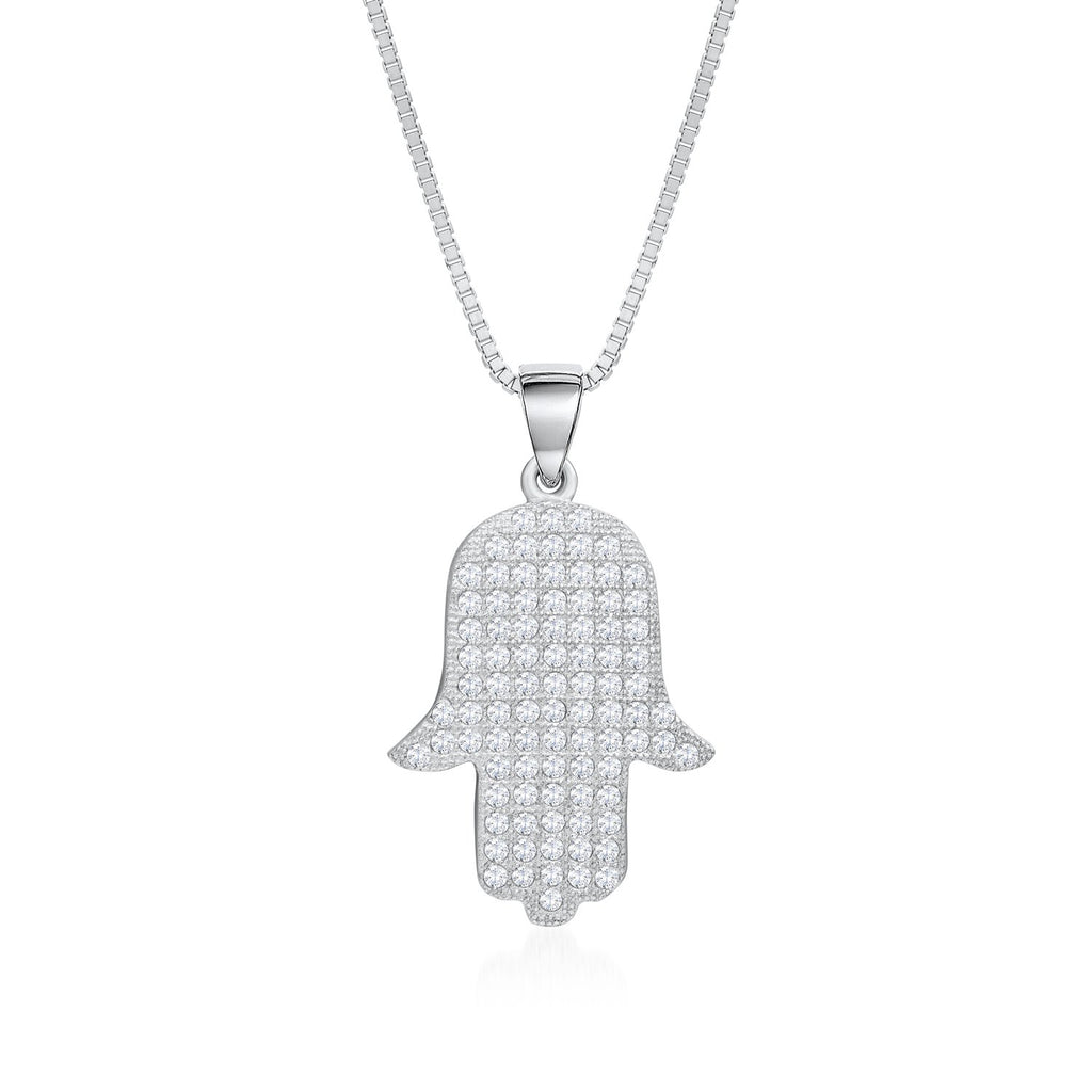 925 Sterling Silver Hamsa Necklace Decorated Shining Cubic Zirconia Fashion-Cat 28PA32740649