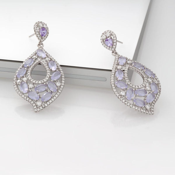 925 Sterling Silver Drop & Dangle Earrings Pave Cubic Zirconia
