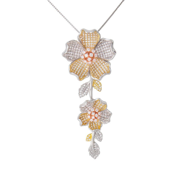 925 Sterling Silver Necklace Tri Color Flower Decorated Clear Cubic Zirconia Fashion-Cat 27GS4X1152142.1
