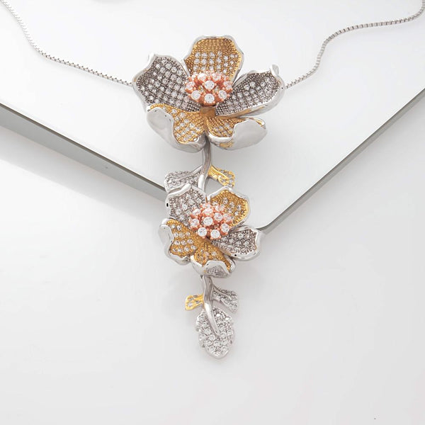 925 Sterling Silver Necklace Tri Color Flower Decorated Clear Cubic Zirconia Fashion-Cat 27GS4X1152142.2