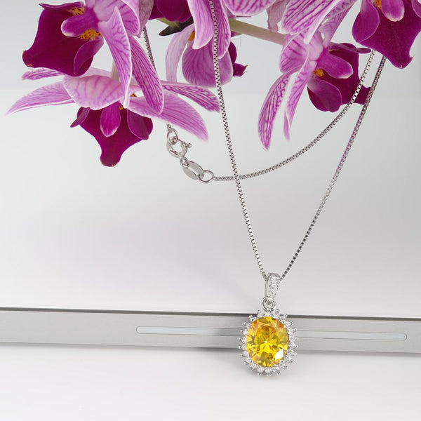 925 Sterling Silver Necklace Decorated Yellow Cubic Zirconia Fashion-Cat 28ЗPA1990506.1