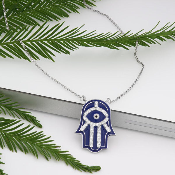 925 Sterling Silver Blue Enamel Hamsa Necklace Decorated Shining Cubic Zirconia Fashion-Cat SN28NF6520472.1