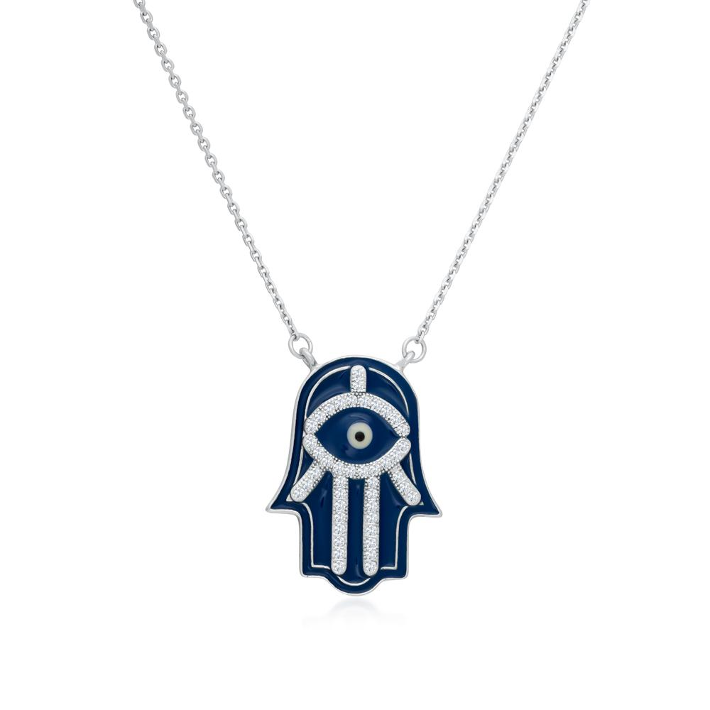 925 Sterling Silver Blue Enamel Hamsa Necklace Decorated Shining Cubic Zirconia Fashion-Cat SN28NF6520472