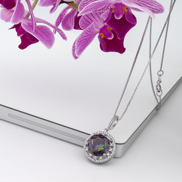 925 Sterling Silver Necklace Decorated Created Mystic Rainbow Cubic Zirconia Fashion-Cat 28PA32630586.1