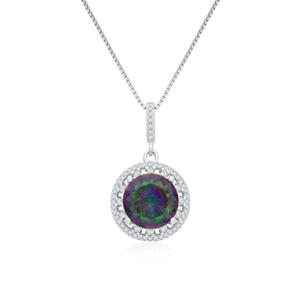 925 Sterling Silver Necklace Decorated Created Mystic Rainbow Cubic Zirconia Fashion-Cat 28PA32630586